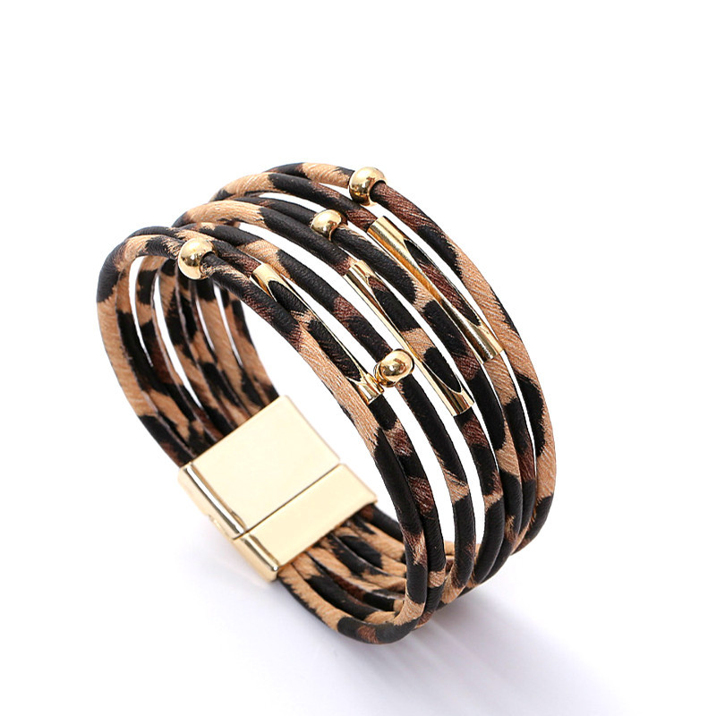 Women Fashion Leopard Printing Alloy Magnetic Buckle Leather Bracelet  Beige