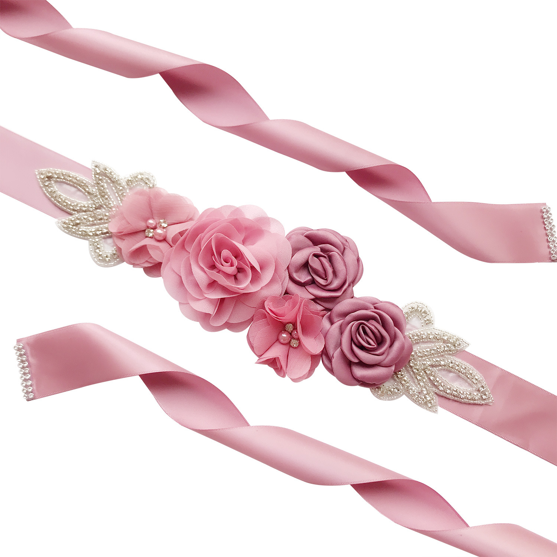Elegant Rose Flowers Shape Pearl Beads Waist Belt for Bridesmaid Bride Dress nude pink_270CM