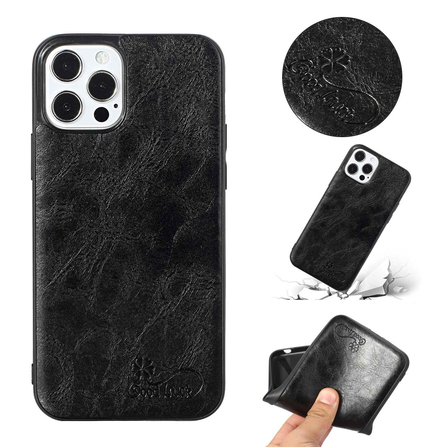 For Iphone 12 Pro Max Mobile Phone Cover Pu Waxed Leather Protective Soft Case black