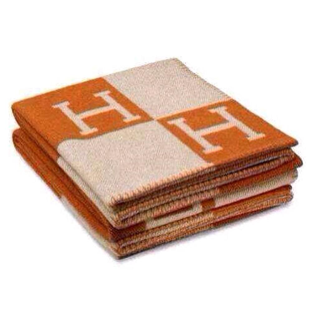 Fashionable Comfortable H-pattern Wool Cashmere Plaid Blanket 130*180cm Soft Warm Blanket Bed Sheet for Sofa Car Travel Orange