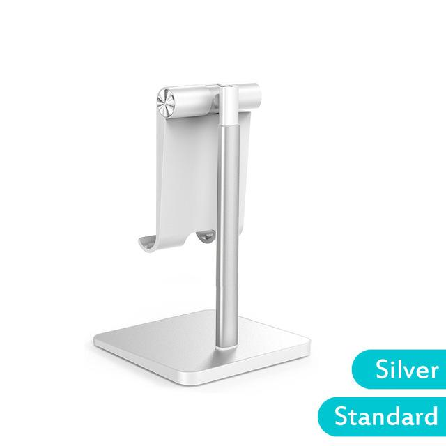 Telescopic Desk Mobile Phone Holder Stand for IPhone IPad Adjustable Metal Desktop Tablet Holder Silver-Standard Edition