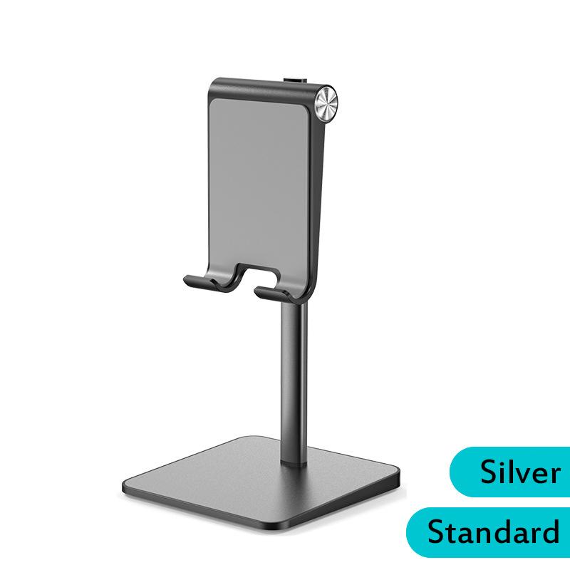 Telescopic Desk Mobile Phone Holder Stand for IPhone IPad Adjustable Metal Desktop Tablet Holder Gray-Standard Edition