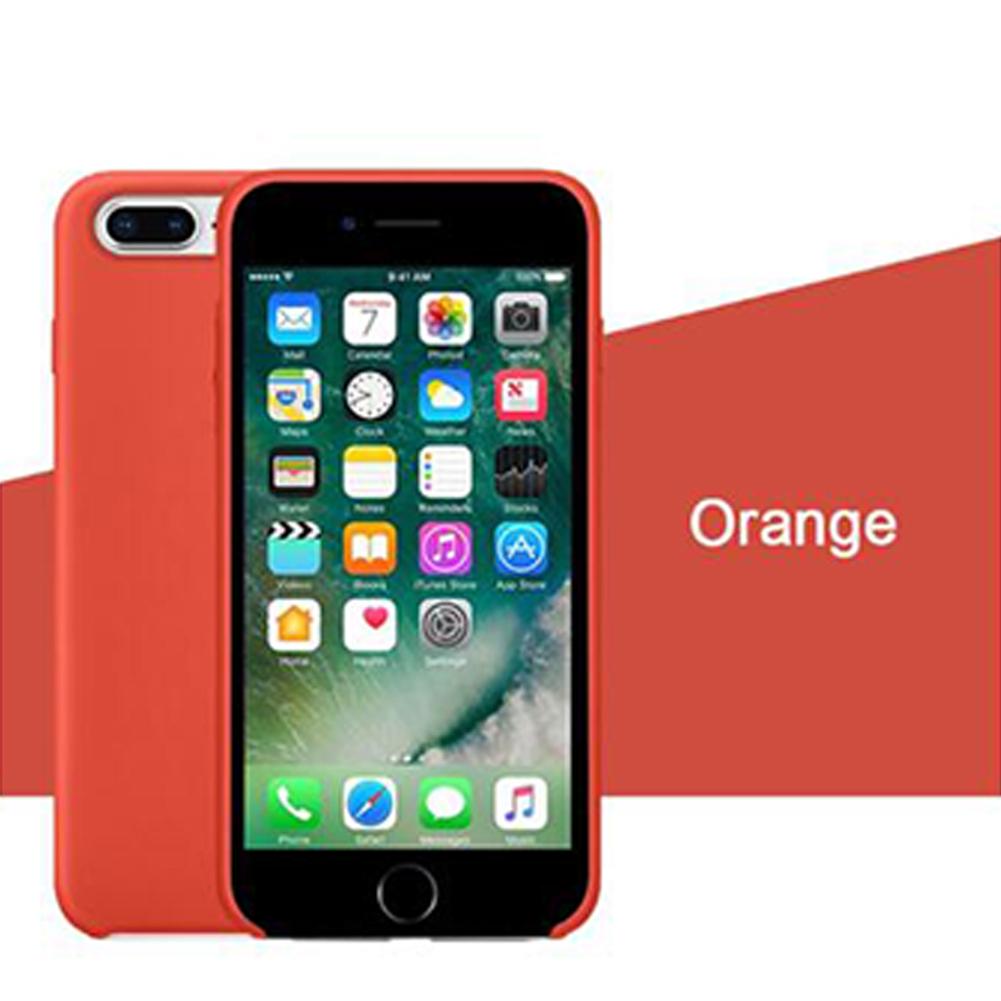Phone Case Protection Shell For Phone7plus/8plus Liquid Soft Silicone Flocked Interior Case Cover 32# orange_iPhone7plus/8plus