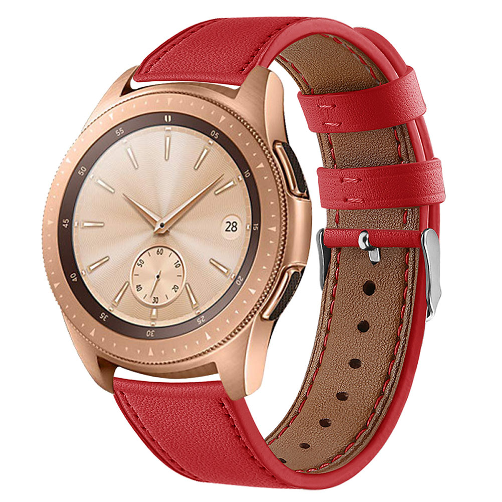 Smart Watch Leather Watch Strap Double Color Round Tail for Samsung Galaxy (42mm) SM-R810 red