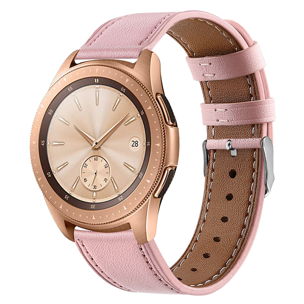 Smart Watch Leather Watch Strap Double Color Round Tail for Samsung Galaxy (42mm) SM-R810 Pink