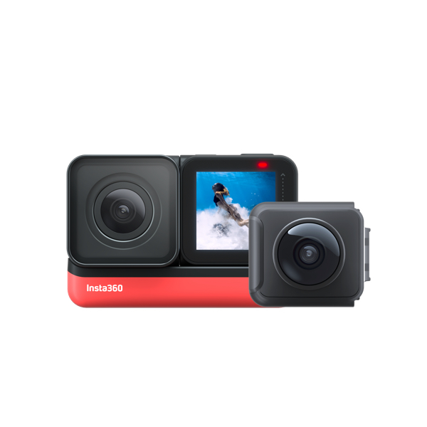 Insta360 ONE R Sports Video Adaptive Action Camera (Twin Edition) Bundle with 4K Wide Angle Lens 5.7K Dual Lens Stabilization IPX8 Waterproof Voice Control Dual cameras