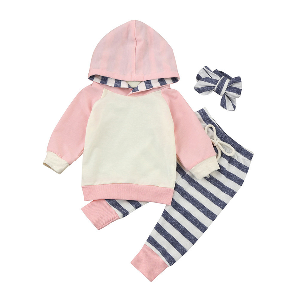Cute Baby Cotton Suit Infant Toddler Hooded Long-Sleeve Pullover Stripe Trousers Hairband/Hat Autumn Spring