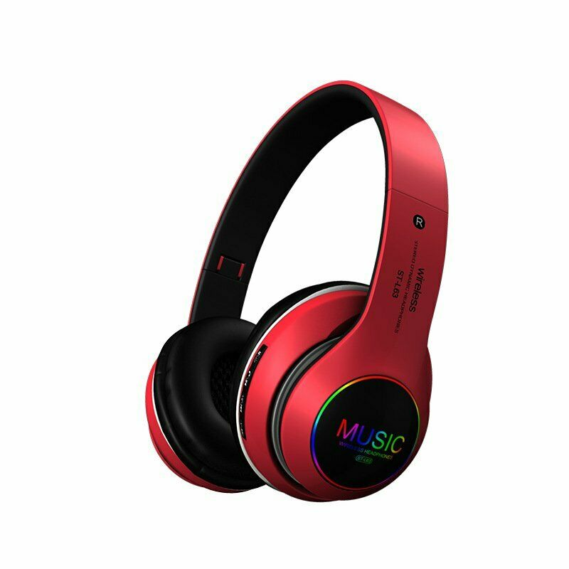 Wireless Bluetooth 5.0 Headphones Foldable Headset Earphones Noise Cancelling Sport Earphone red