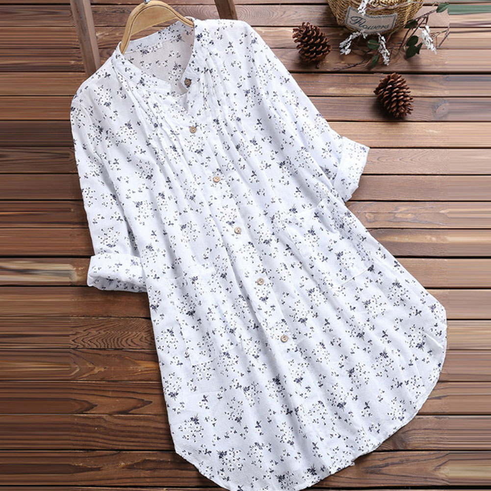Women's V Neck Floral Print Long Sleeve Casual Blouse Top white_XL