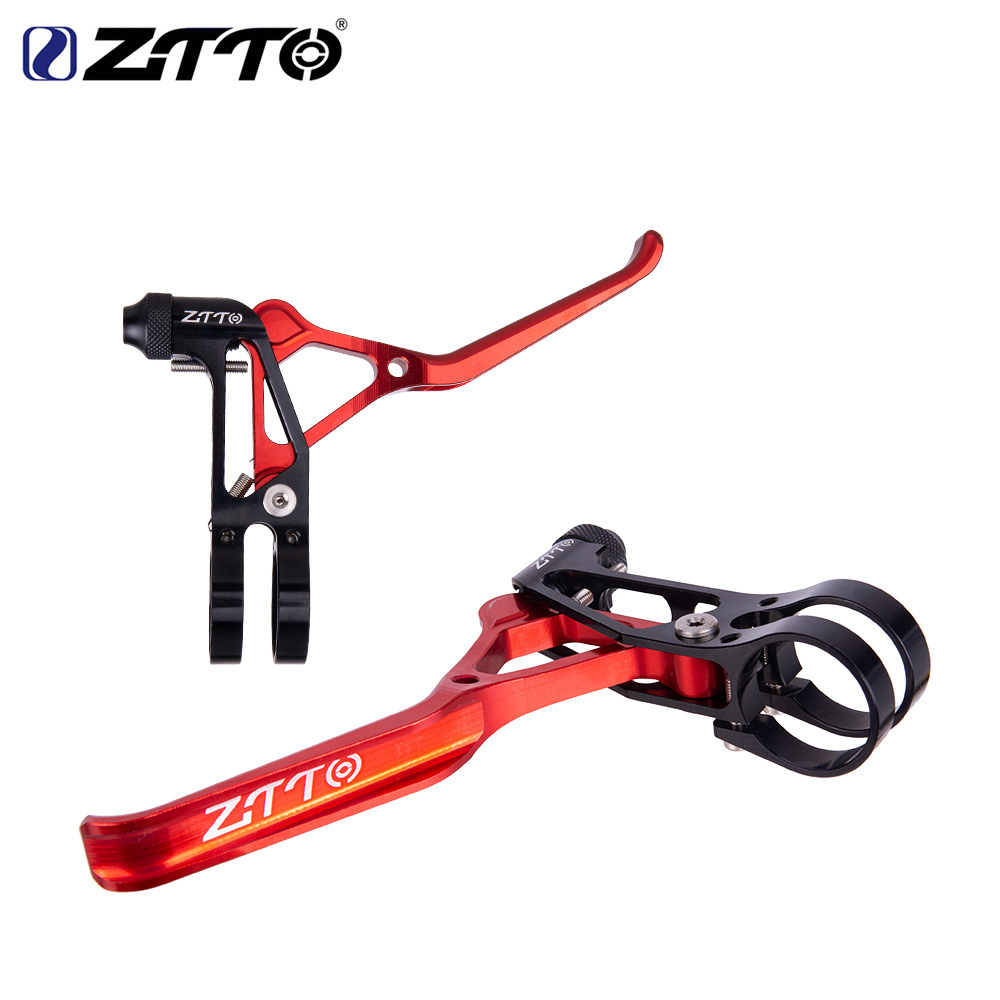 ZTTO Bicycle Folding Wheel Road Handbrake Handle V Brake Handle Ultra-light Hollow CNC Bicycle Accessories CNC super light brake lever red