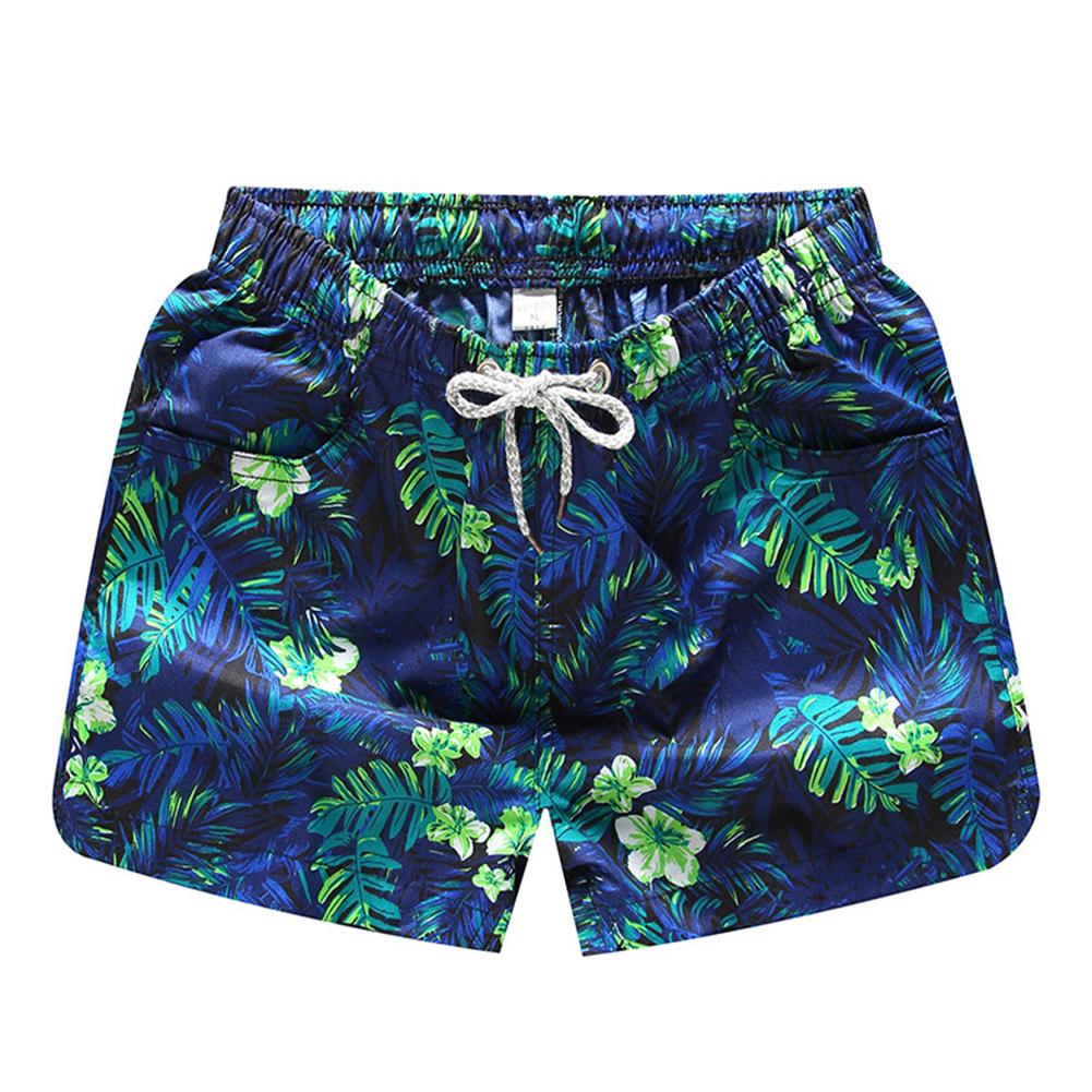 Men Casual Quick-drying Green Leaf Printing Beach Shorts Green flower female_4XL
