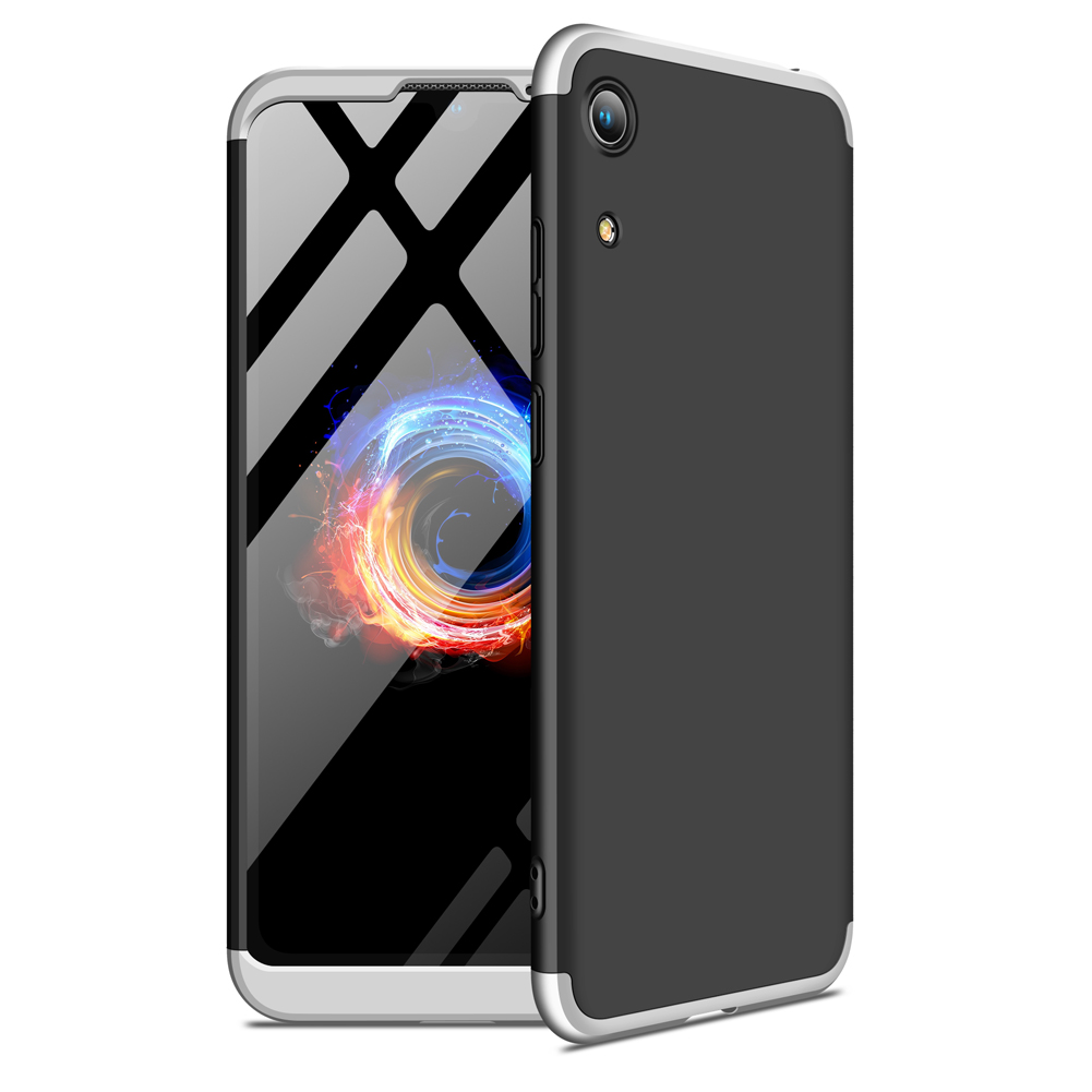 For HUAWEI HONOR 8A Ultra Slim PC Back Cover Non-slip Shockproof 360 Degree Full Protective Case Silver black silver
