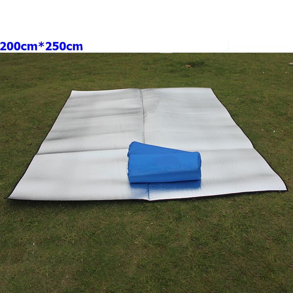 Double-sided Foldable Waterproof Aluminum Film Pad Portable Small Picnic Outdoor Camping Beach Mat Silver_Double-sided 250*200*0.25cm cloth bag