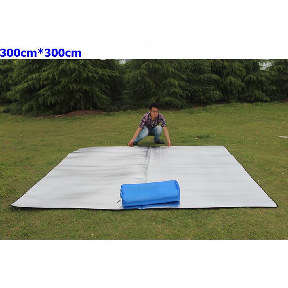 Double-sided Foldable Waterproof Aluminum Film Pad Portable Small Picnic Outdoor Camping Beach Mat Silver_Double-sided 300*300*0.2cm cloth bag