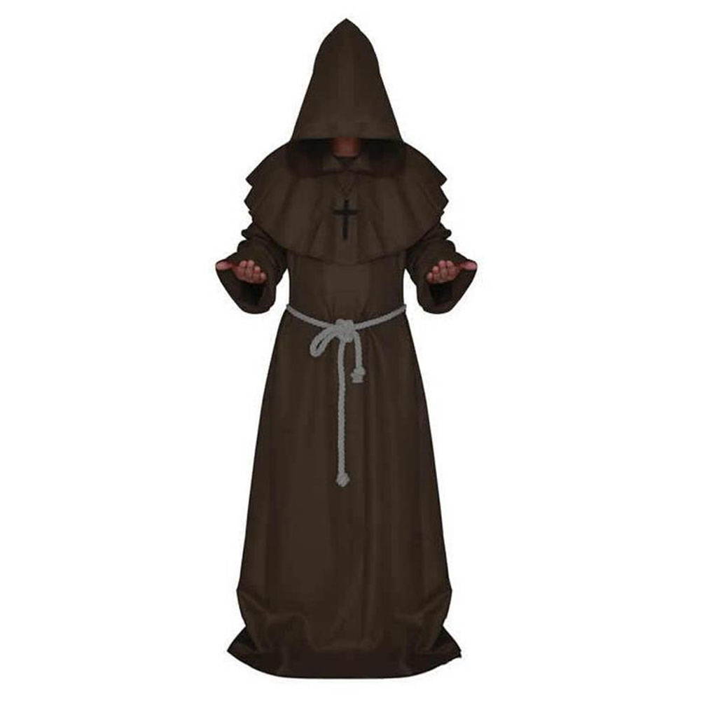 Mediaeval Monks Clothing Pastor Clothes Long Robe Wizard Costume Cosplay Church Fathers Costumes Halloween Masquerade Costume Brown (medieval monk)_S