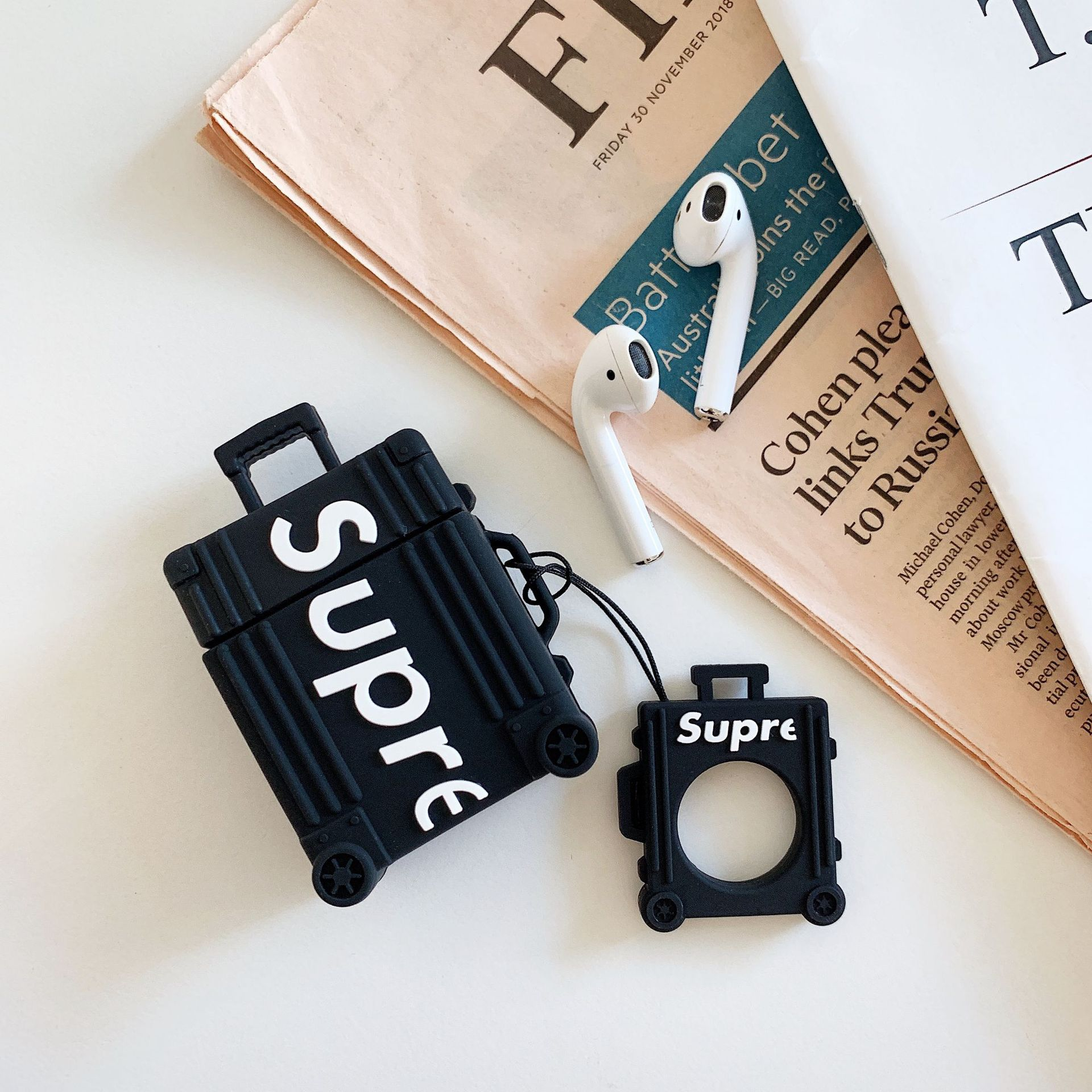 Letter Suitcase Inspired Silicon for Airpods Case Cover with Ring Holder black
