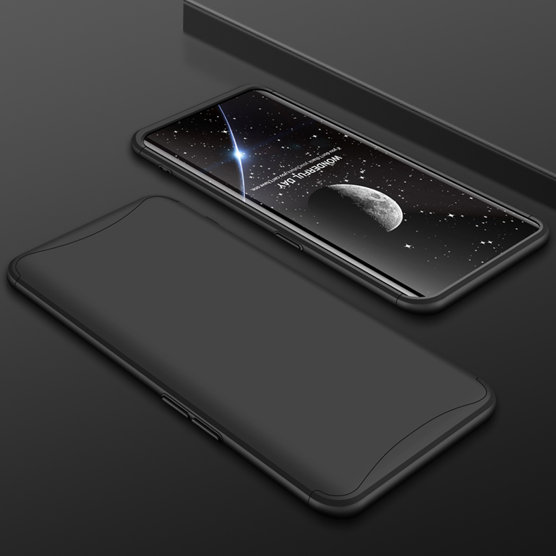 For OPPO Find X Ultra Slim PC Back Cover Non-slip Shockproof 360 Degree Full Protective Case black