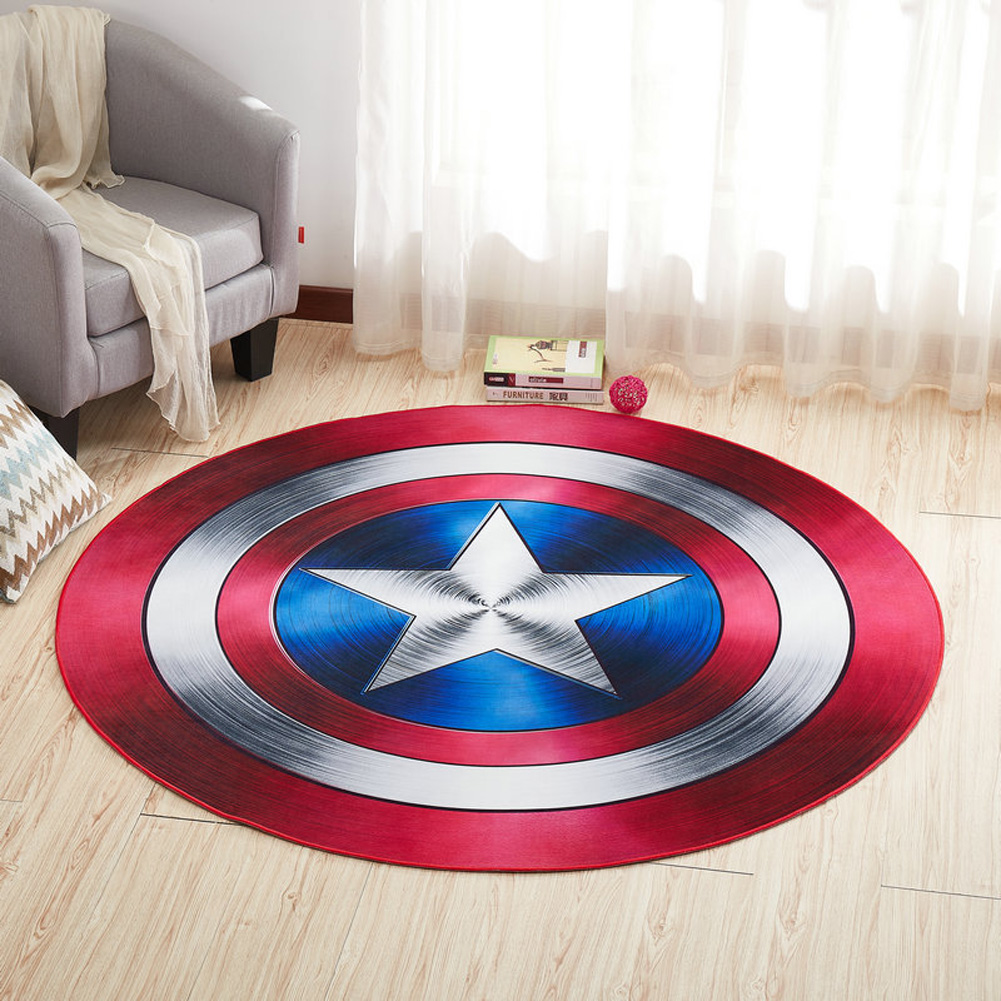Round Carpet 3D Anti-slip Rugs Computer Chair Floor Mat for Home Kids Room Hand shield_100cm