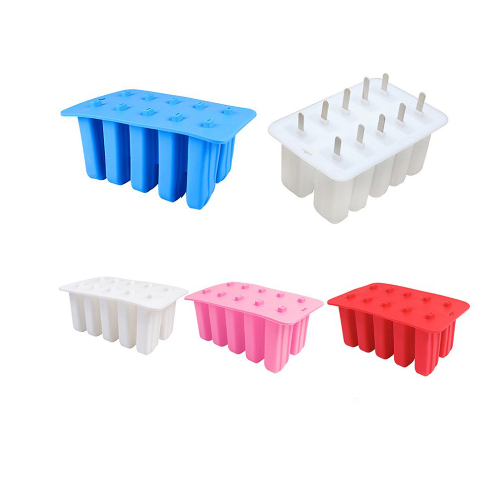 10 Holes Silicone Mold Homemade DIY Ice-sucker Mould for Ice Cream Chocolate Transparent