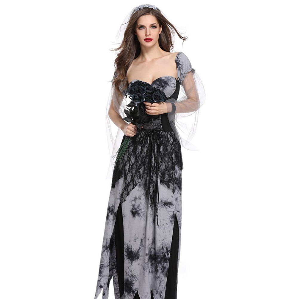 Corpse Bridal Costume Halloween Vampire Bride Costume Masquerade Cosplay Adult Female Club Wear Party Ghost Bride Dress Black ash_L