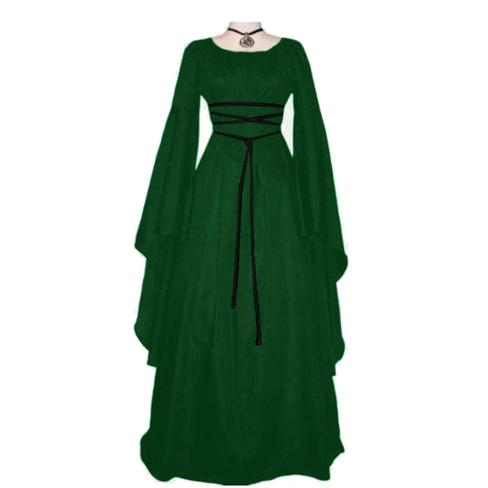 Women Long Sleeve Round Collar Belt Irregular Ladies Dress Halloween Costume green_L