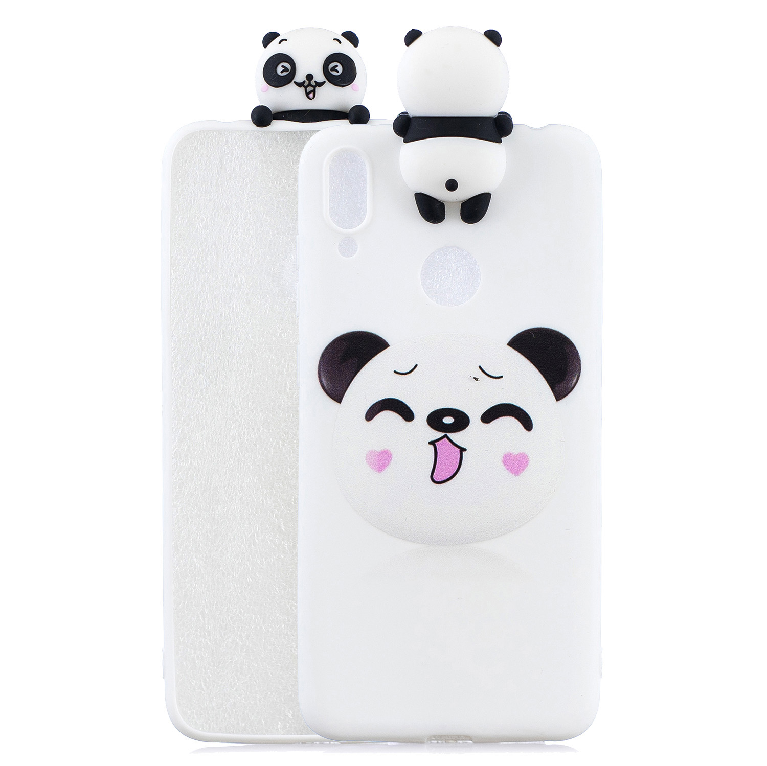 For Huawei Y6 2019 3D Cartoon Lovely Coloured Painted Soft TPU Back Cover Non-slip Shockproof Full Protective Case Smiley panda