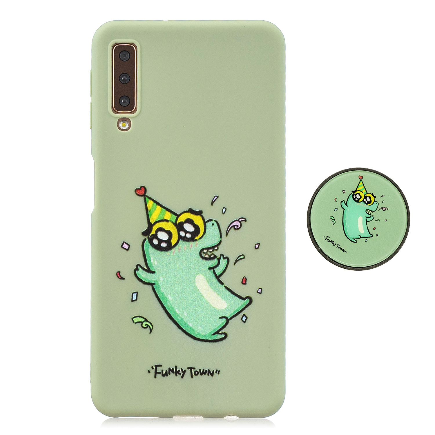 For Samsung A7 2018 A750 Full Cover Protective Phone Case Cartoon Pattern Solid Color TPU Phone Case with Adjustable Bracket 2