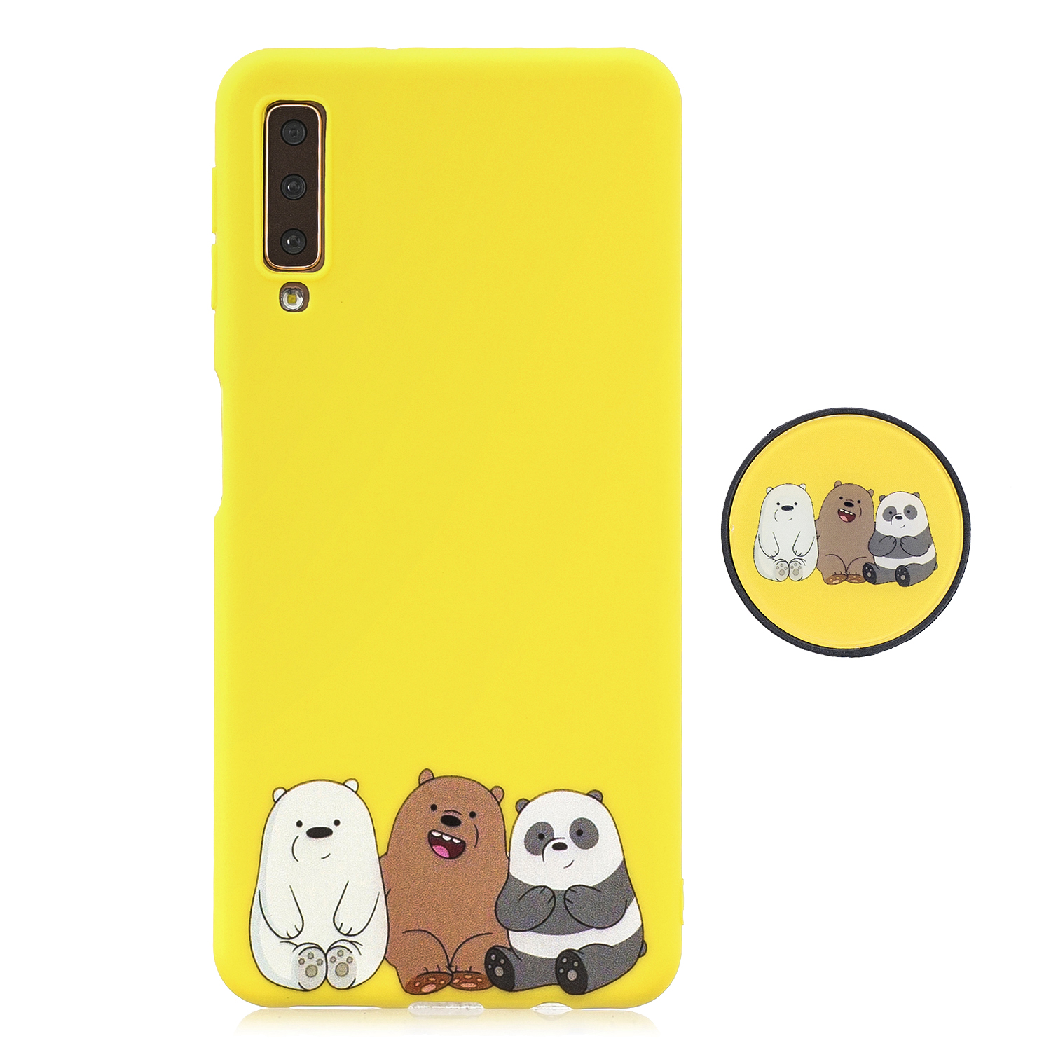 For Samsung A7 2018 A750 Full Cover Protective Phone Case Cartoon Pattern Solid Color TPU Phone Case with Adjustable Bracket 7