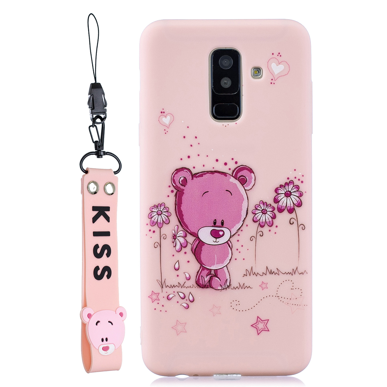 For Samsung A6 plus 2018 Cute Coloured Painted TPU Anti-scratch Non-slip Protective Cover Back Case with Lanyard Light pink