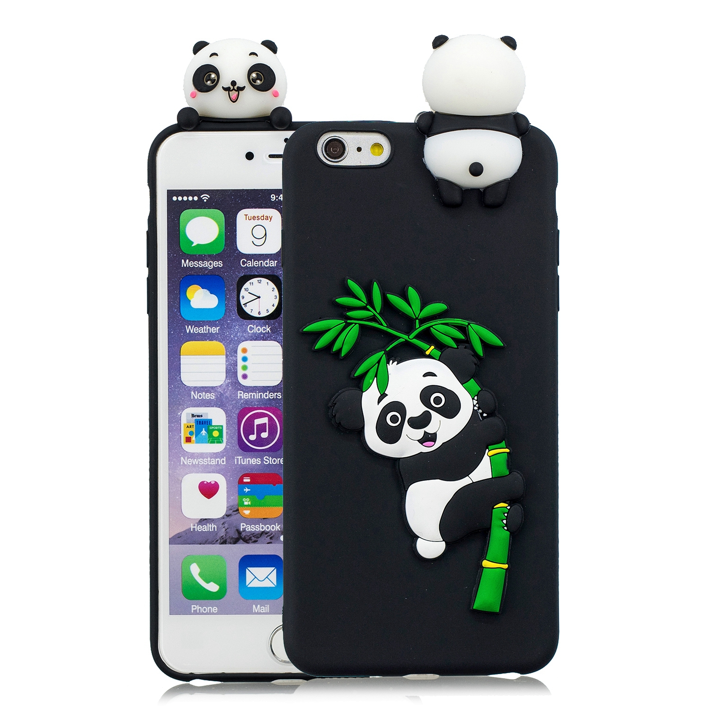 For iPhone 5/5S/SE/6/6S/6 Plus/6S Plus/7/8/7 Plus/8 Plus Phone Case 3D Cartoon Panda Bamboo Cellphone Back Shell Shockproof Smartphone Cover Black