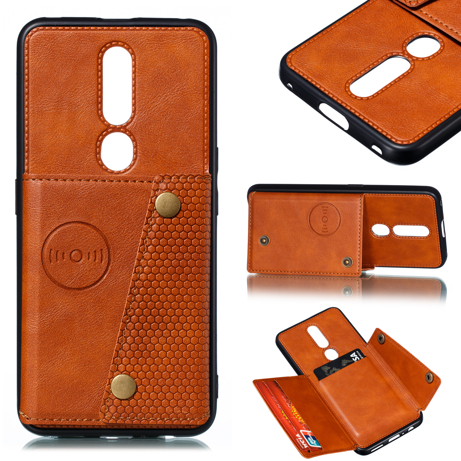 For OPPO F11 pro PU Leather Flip Stand Shockproof Cell Phone Cover Double Buckle Anti-dust Case With Card Slots Pocket Light Brown