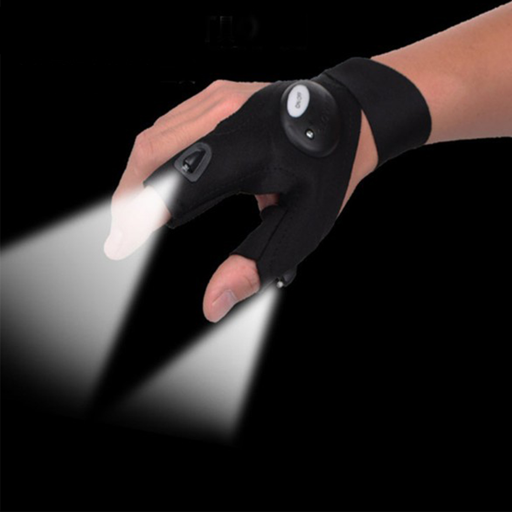 Unisex Multipurpose Gloves Fingerless Gloves with LED Lamp for Repairing Fishing Cycling