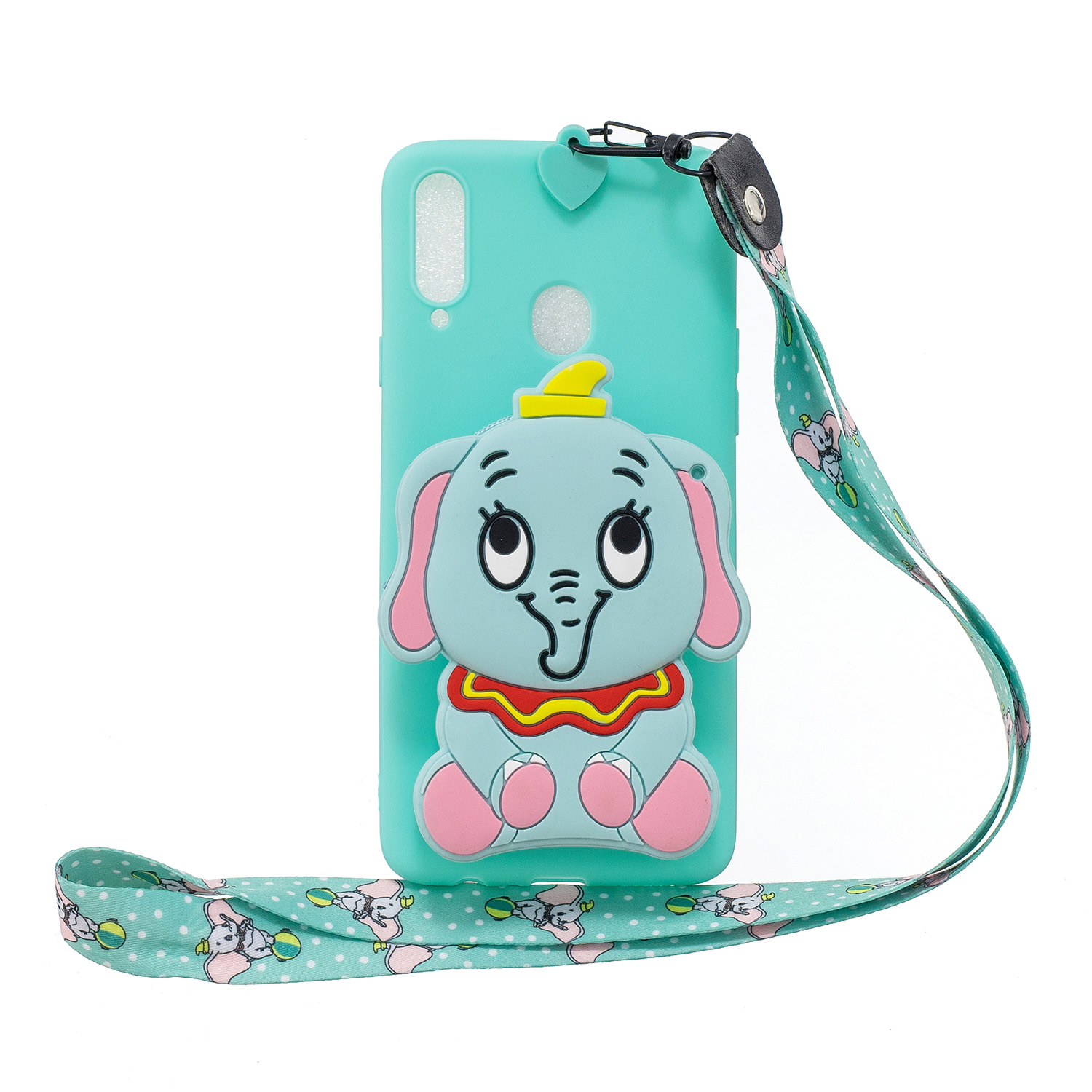 For Samsung A10S A20S TPU Full Protective Cartoon Mobile Phone Cover with Coin Purse+Hanging Lanyard 2 light blue elephant