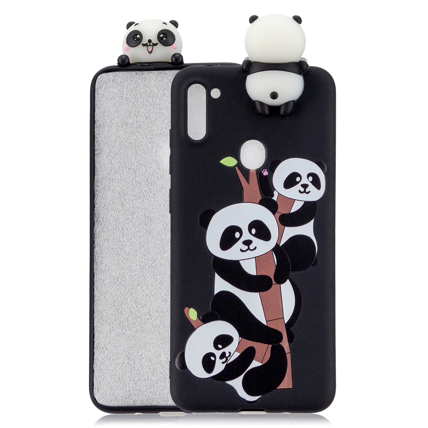 For Samsung A11 Soft TPU Back Cover 3D Cartoon Painting Mobile Phone Case Shell Three pandas