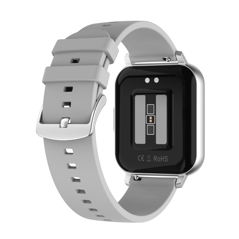 Smart Watch Touch Screen IP68 Waterproof Heart Rate Blood Pressure Monitor Smartwatch gray_Rubber belt