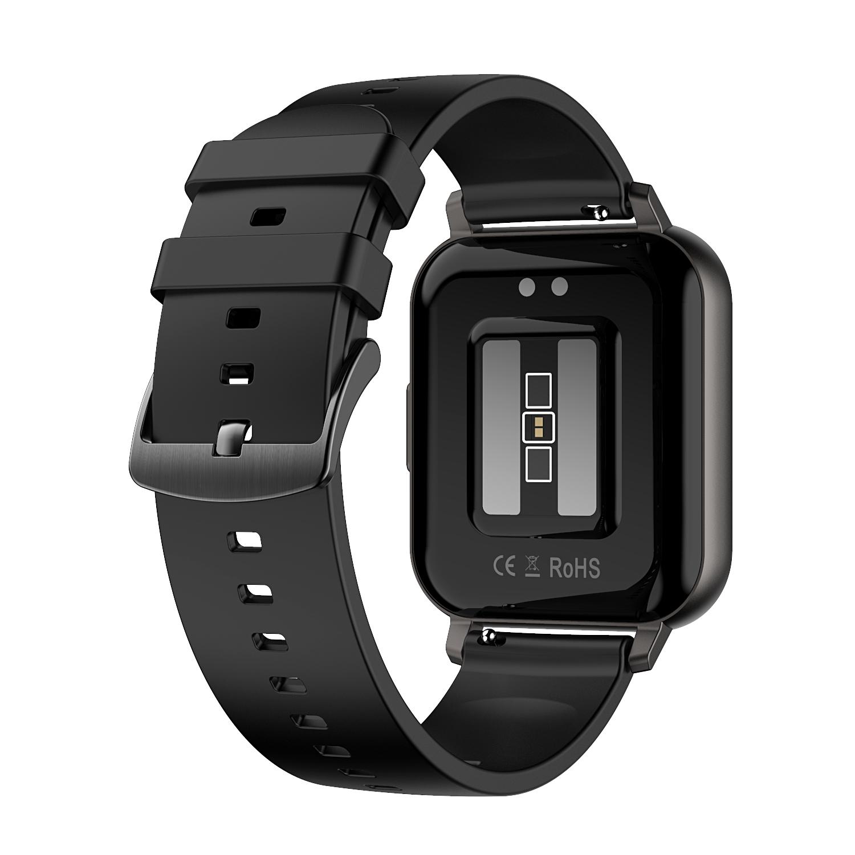 Smart Watch Touch Screen IP68 Waterproof Heart Rate Blood Pressure Monitor Smartwatch black_Rubber belt