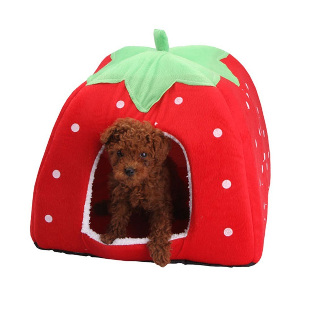 Comfortable Plush Sleeping Nest Soft Cage for Pet Cats Dogs Red strawberry_L