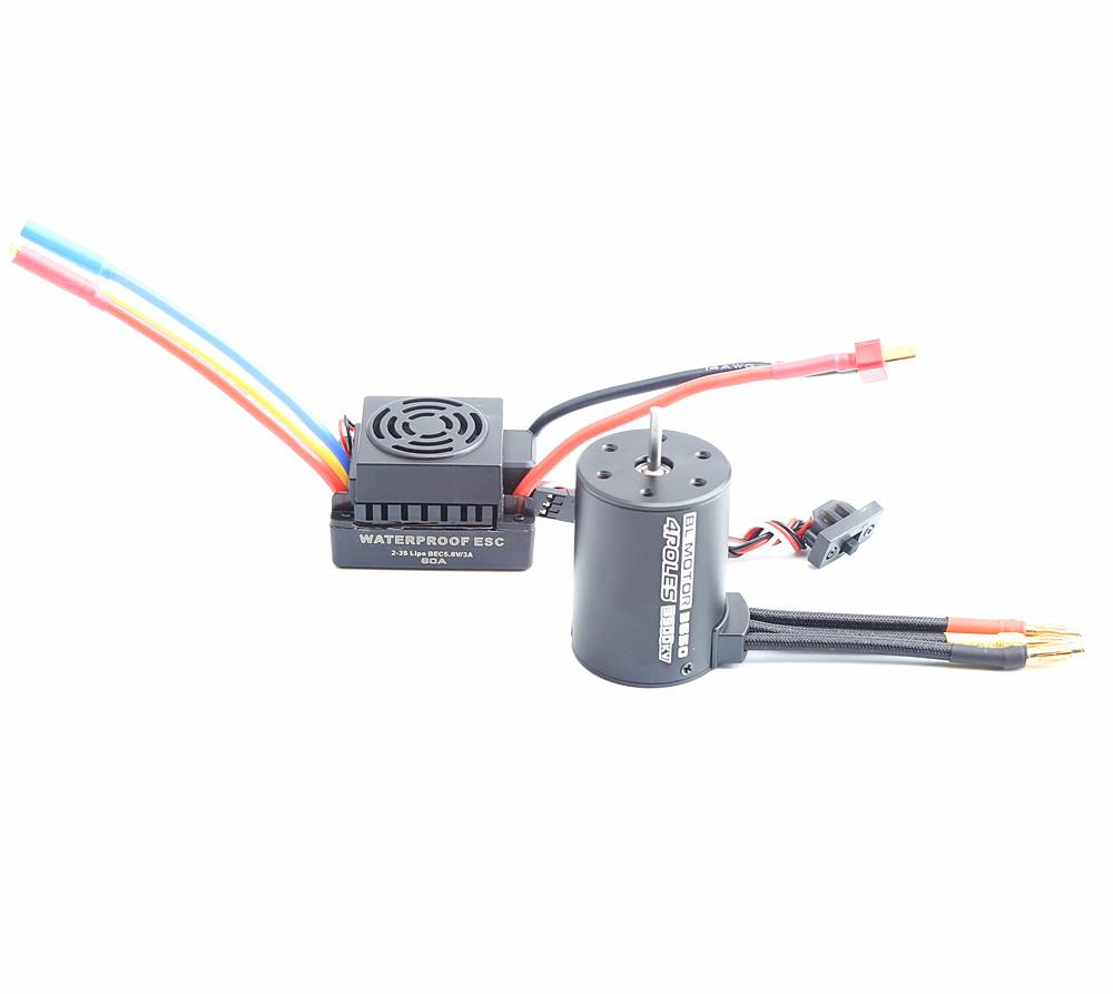 Rc Waterproof 3650 3900KV RC Brushless Motor 60A ESC Programmer for 1/10 RC Car Truck Motor kit Black KSX3452+KSX3451