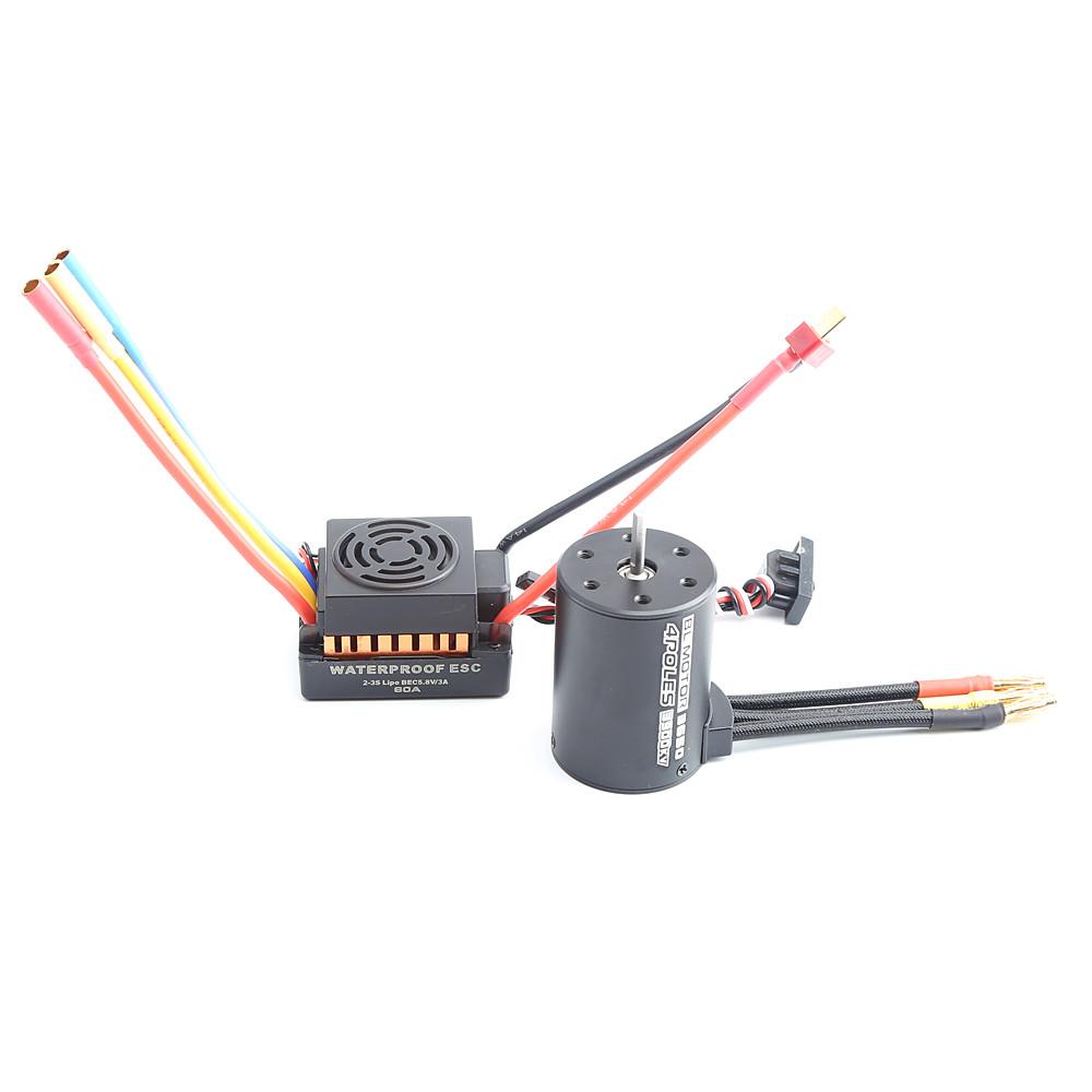 Rc Waterproof 3650 3900KV RC Brushless Motor 60A ESC Programmer for 1/10 RC Car Truck Motor kit Orange KSX3452+KSX3450