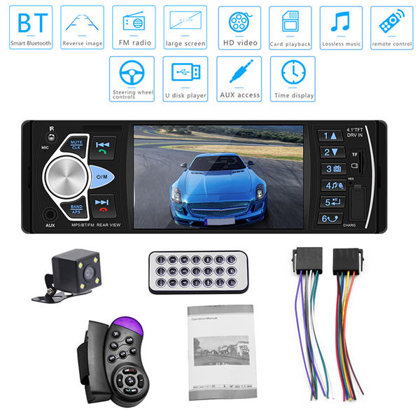 4.1 inch HD Car MP5 Bluetooth Hands-free Vehicle MP5 Player Card Radio 4022D with Rear Camera black