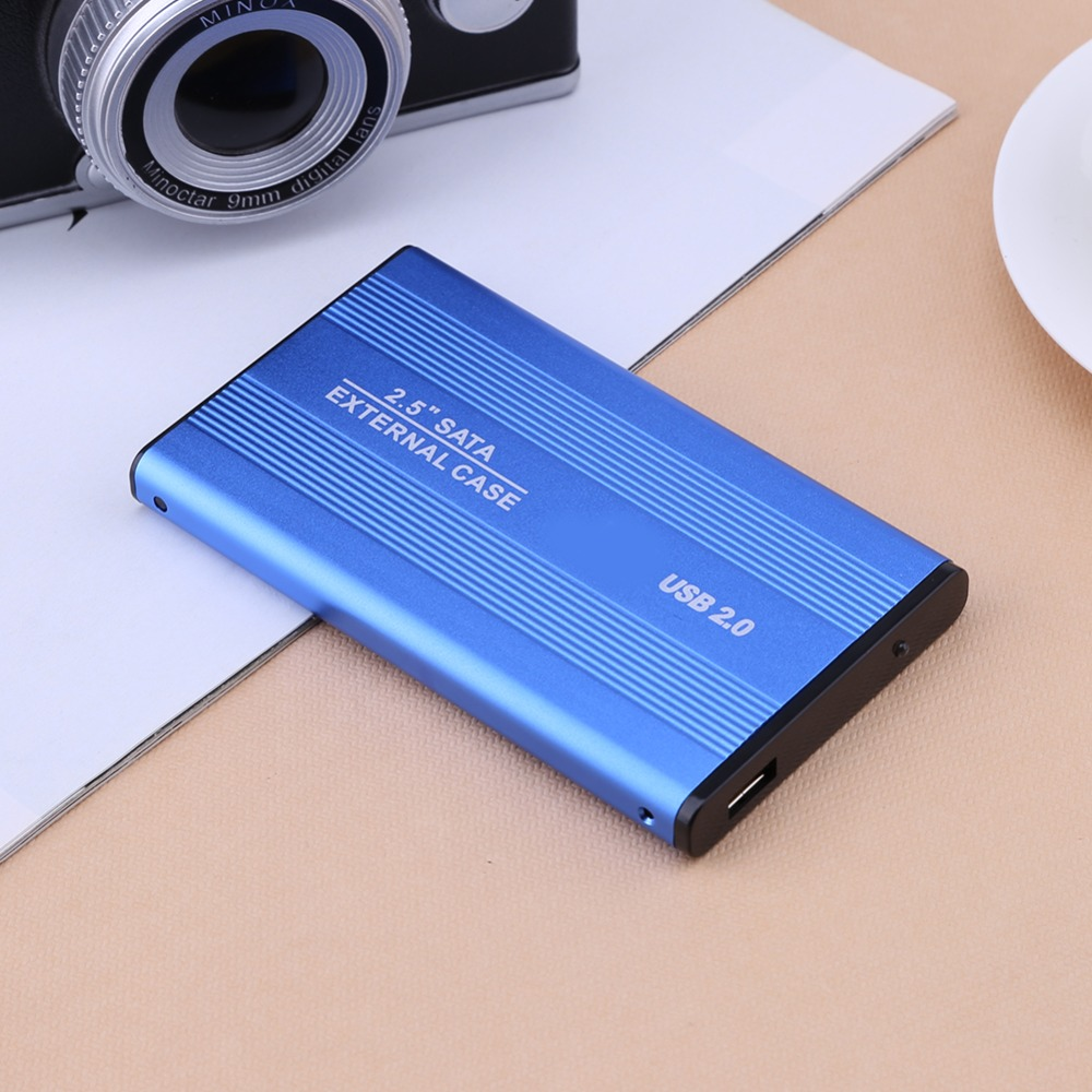 2.5 Inch USB 2.0/3.0 SATA External Mobile Hard Disk Box HDD Aluminum Alloy Shell Adapter Case Enclosure Box for PC Laptop Notebook Blue USB2.0