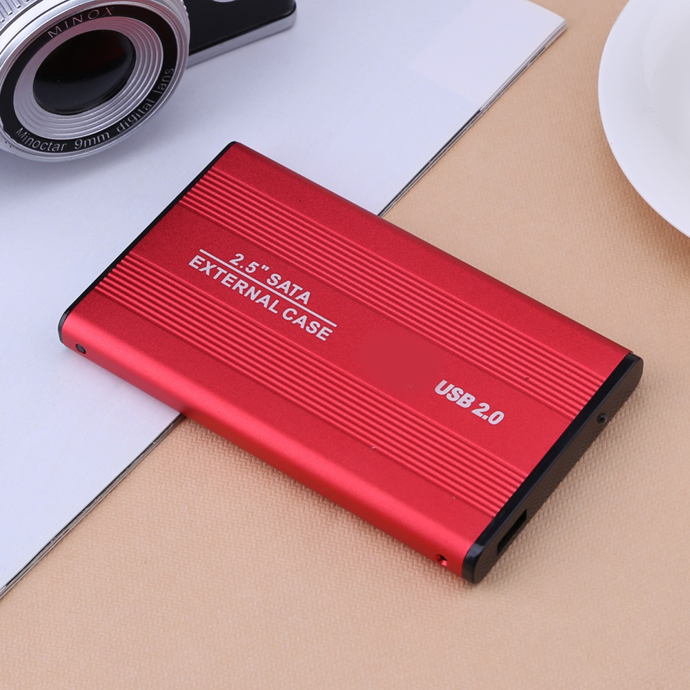2.5 Inch USB 2.0/3.0 SATA External Mobile Hard Disk Box HDD Aluminum Alloy Shell Adapter Case Enclosure Box for PC Laptop Notebook Red USB2.0