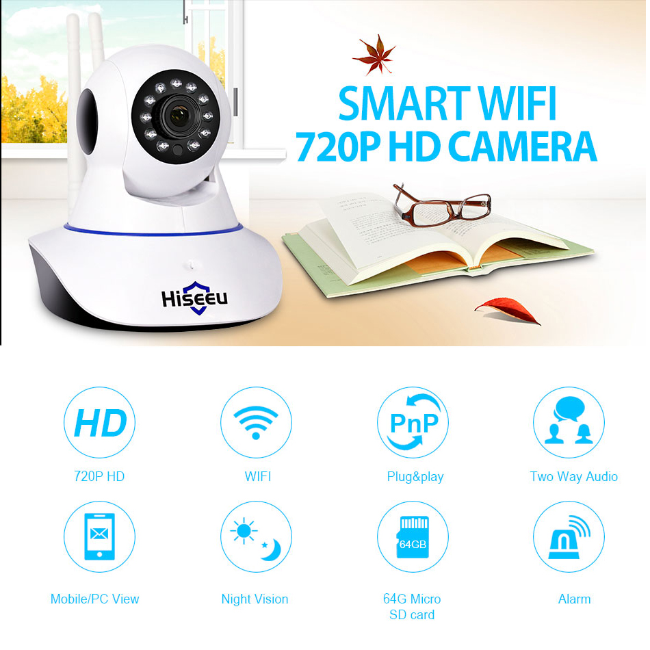 Hiseeu Home Security Wifi IP Camera Audio Record SD Card Memory P2P HD CCTV Wireless Camera Baby Monitor AU plug