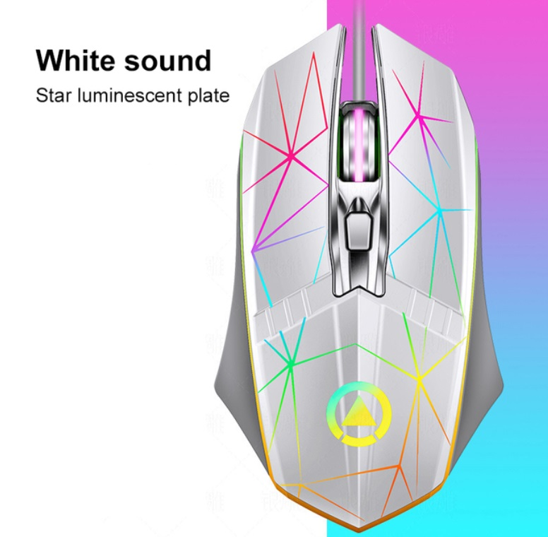 Gaming  Mouse G11 Wired Metal Scroll Wheel 4-button Luminous Mouse For Computer Pc Laptop Gaming White Star version