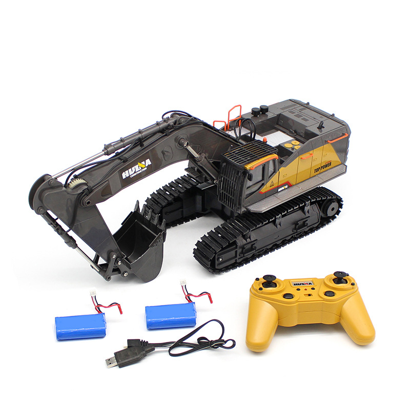 HuiNa 1:14 1592 RC Alloy Excavator 22CH Big RC Trucks Simulation Excavator Remote Control Vehicle Toy for Boys 2 batteries