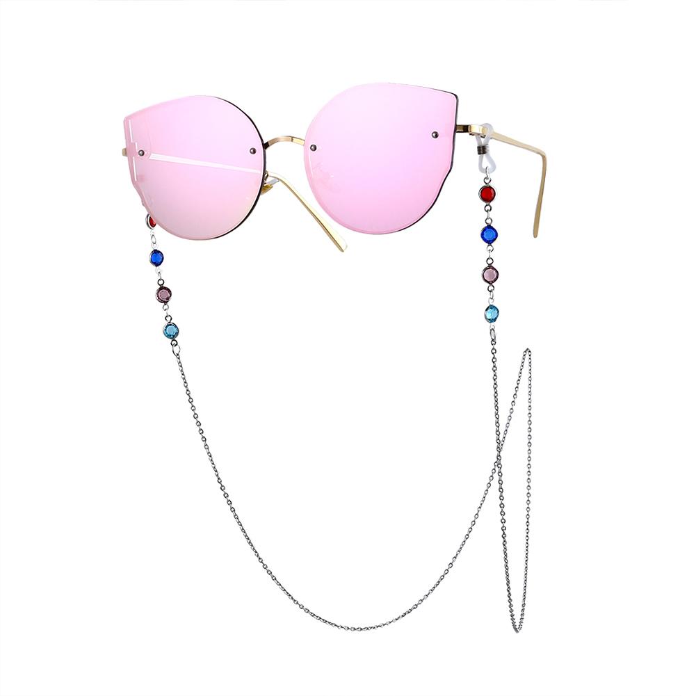 Woman Fashion Colorful Diamond-encrusted Anti-slip Eyeglasses Chain Silver