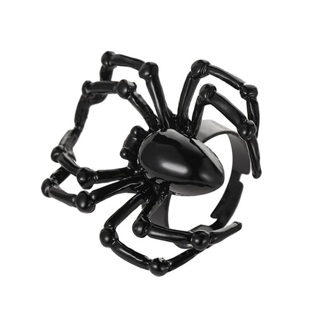 Halloween Ring Simulation Spider Spoof Tricky Toy Gothic Ring 02 black