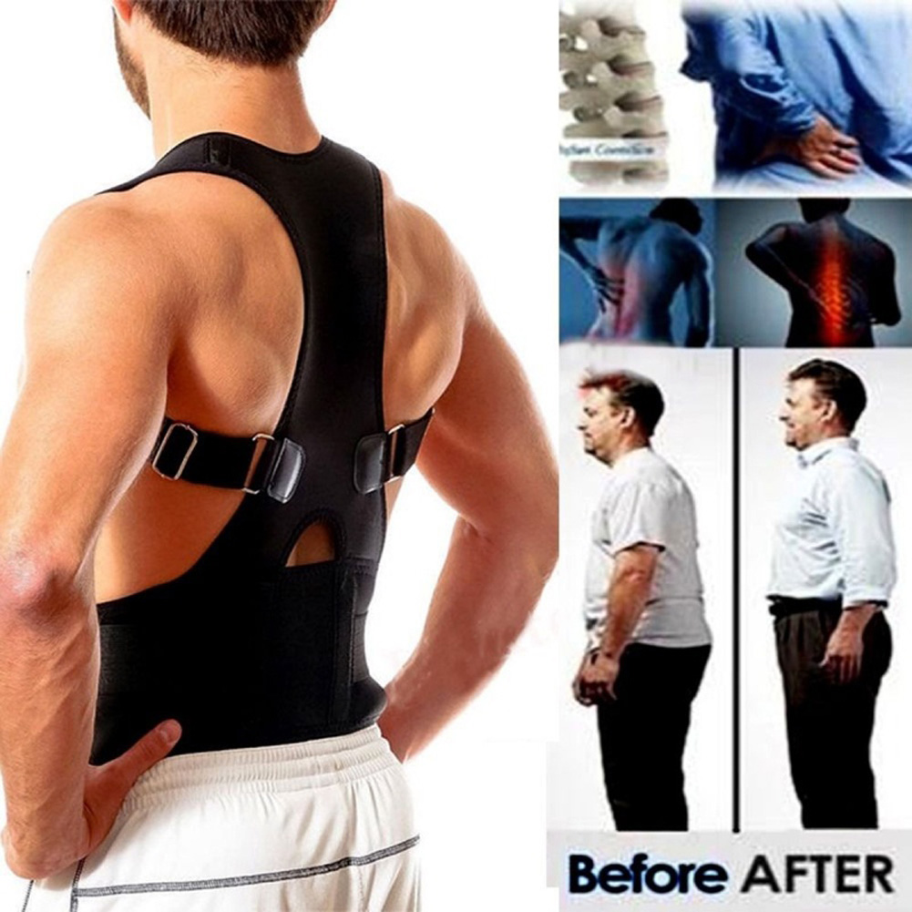 Unisex Back Posture Corrector Magnetic Adjustable Posture Brace Back Support Belt XXL