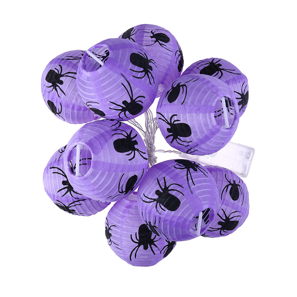 10pcs LED Halloween Purple Spider Light-emitting Paper Lantern Folding Hand-held Lantern Haunted Festival Scene Decorative Warm white