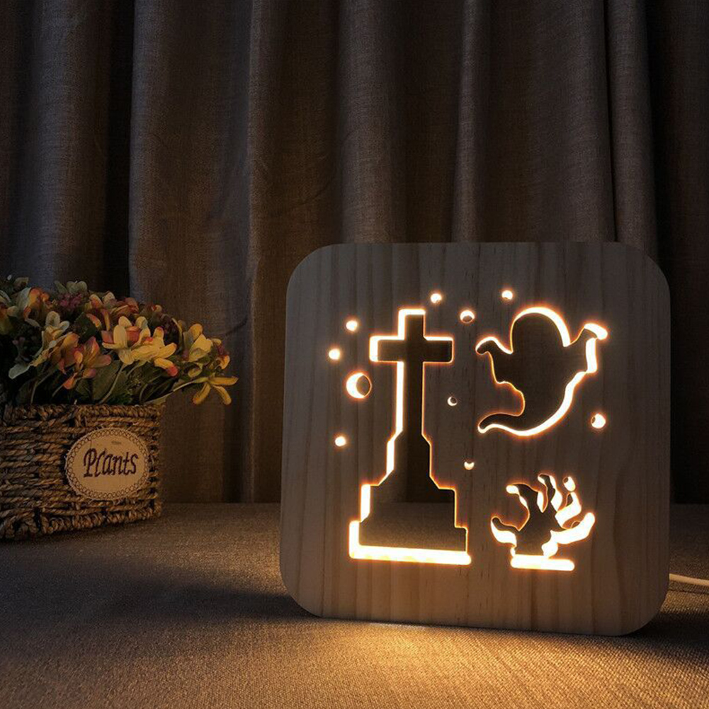 LED Wooden Night Light Halloween Ghost Shape Wood Art Lamp Wood Decoration Decorative Nightlight warm white